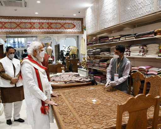 Inauguration Of 'Ekta Mall' In Gujarat Done By PM Modi , Visits Stores From J&K, Northeast